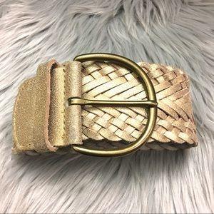 Banana Republic Gold Leather Belt Small